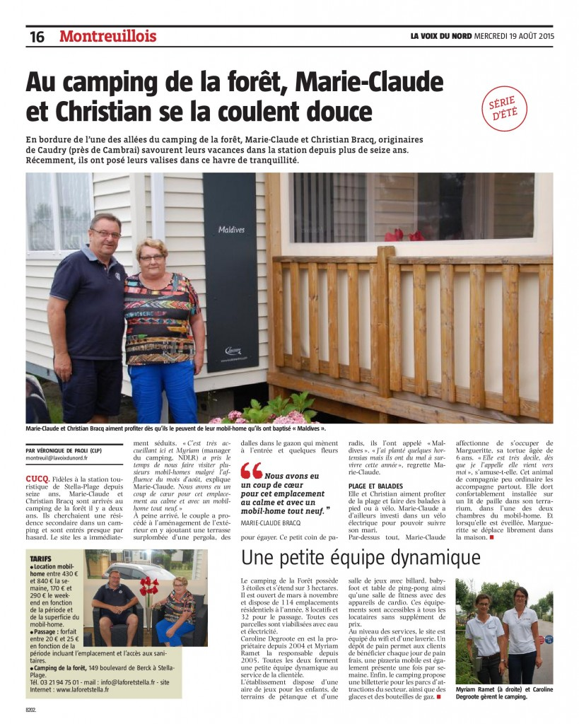 article camping la foret